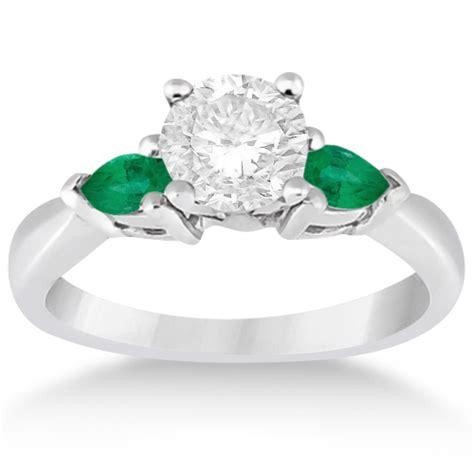 pear cut three emerald engagement ring platinum 0