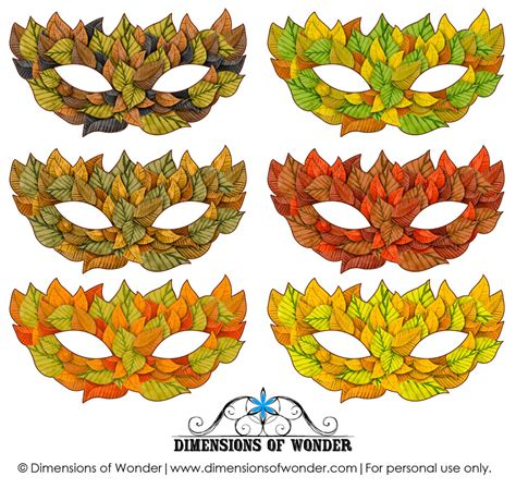 printable leaf mask printable halloween masks in shades of fall autumn leaves