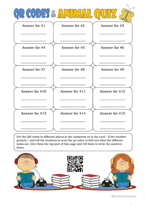 printable animal quiz worksheets qr codes and animal quiz worksheet free esl printable