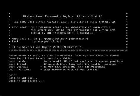 vista password reset disk linux jak złamać hasło administratora wyczyścić lub zmienić w