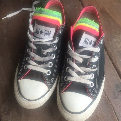 multi colored converse converse shoes multi colored tongue unique black poshmark