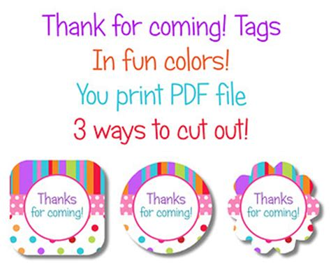 Thank You For Coming Tags Printable Printable 360 Degree Thank You For Coming Tags Template