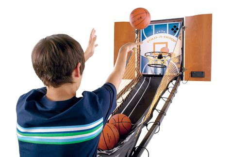 arcade hoops basketball cabinet hide a hoop indoor arcade basketball sharper image