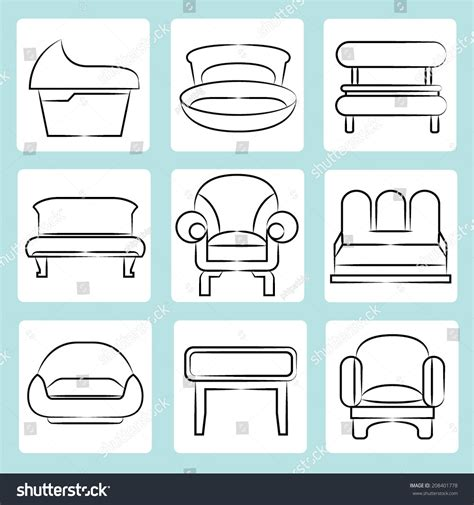 Sketch Chair Icons Set Sofa by Sofa Icons Sketch Sofa Chair Icons Set Interior Design