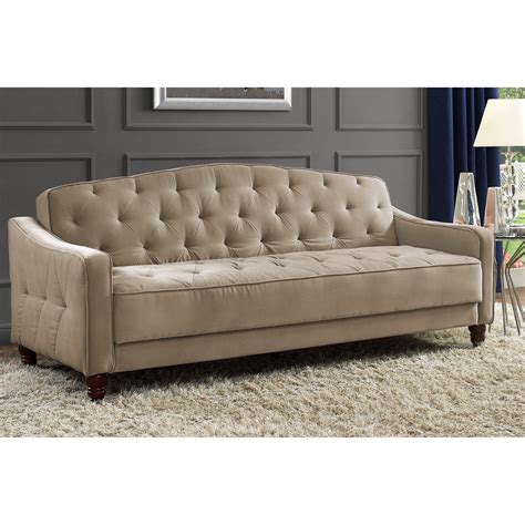 Tufted Sofa Sleeper Novogratz Sofa Vintage Tufted Sleeper Ii Home Living Room Furniture Taupe Velour Ebay