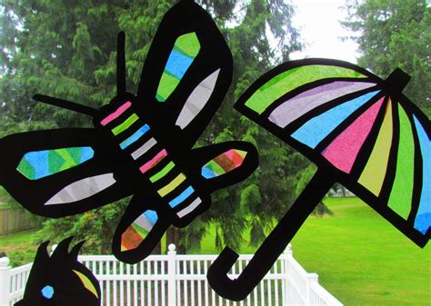 Stained Glass Paper Craft - learn to grow suncatcher tissue paper craft stained