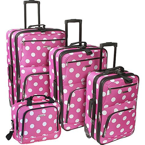rockland luggage dots 4 piece luggage set multiple blue rockland luggage polka dot expandable 4 piece luggage set