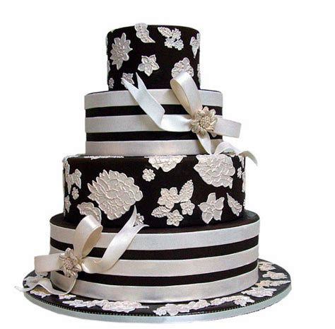 Wedding Cake Png by Black And White Wedding Cake With Floral Patterns Png