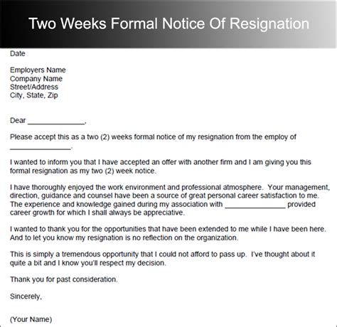 Exle Resignation Letter Without Two Weeks Notice Two Weeks Notice Letter Templates Free Pdf Word Documents Creative Template
