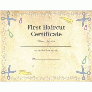 first haircut certificate quotes