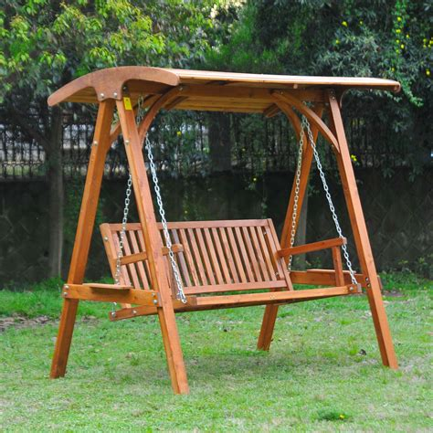 wooden seat swing outsunny 3 seater garden outdoor larch wood swing chair