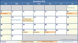 Calendar 2018 With Canadian Holidays December 2018 Canada Calendar With Holidays For Printing