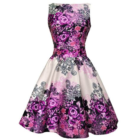 style flower 1950s style violet floral border collage tea dress by