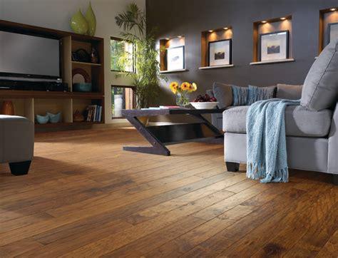 Hickory Wood Floor Living Room   Contemporary   Living