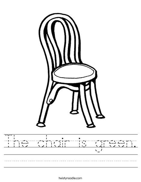 a chair for my worksheets the chair is green worksheet twisty noodle