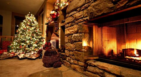 christmas tree with house wallpaper fireplace backgrounds wallpaper cave