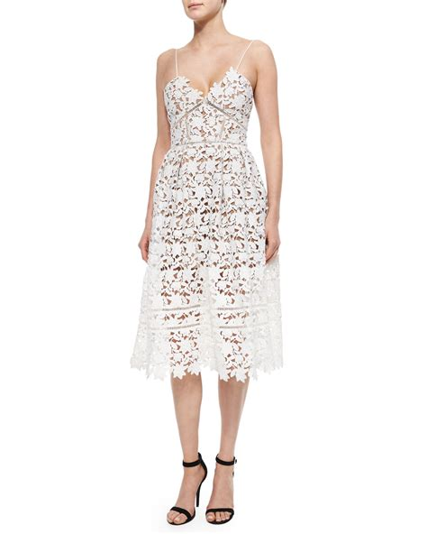Azalea Dress self portrait azalea lace dress in white lyst