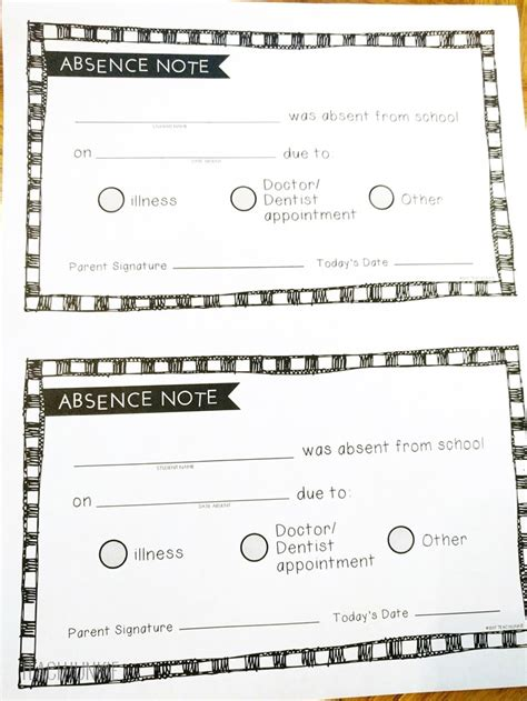 absence note free printable absence notes for the elementary classroom