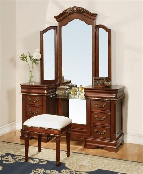 marquis cherry wood makeup vanity table with mirror and 11845 classique vanity mirror cherry finish dressing