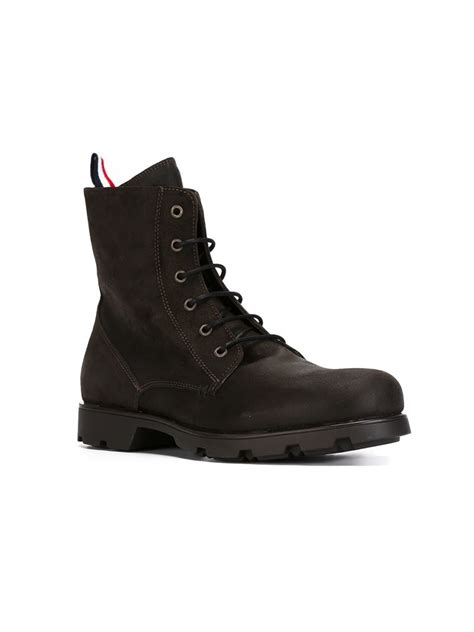 mens moncler boots lyst moncler lace up boots in brown for