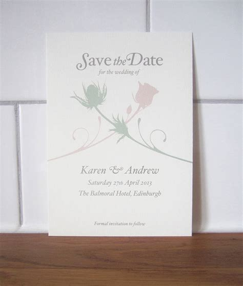 lovat press wedding stationery glasgow thistle and rose save the date card by lovat press on