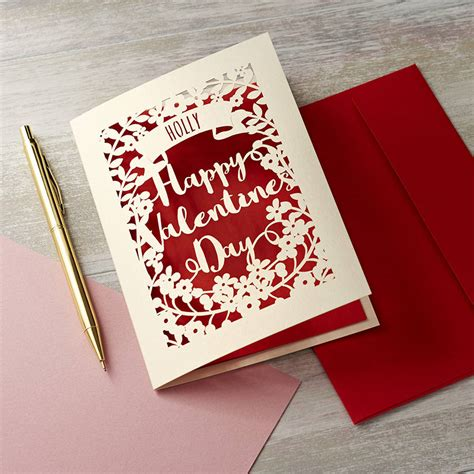 valentines card personalised papercut s card by pogofandango