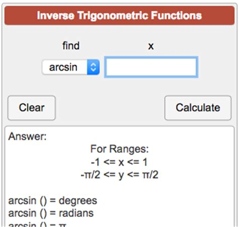 calculator arcsin inverse trigonometric functions calculator