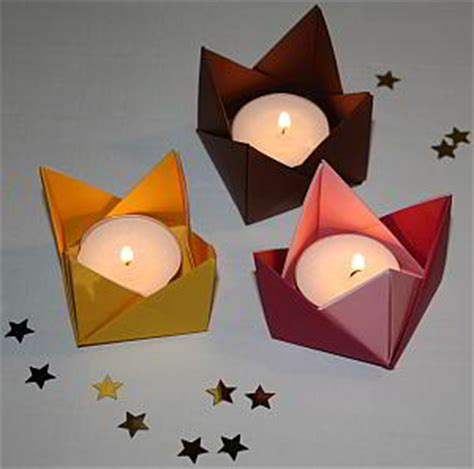 kerzenhalter papier anleitung f 252 r origami teelichthalter