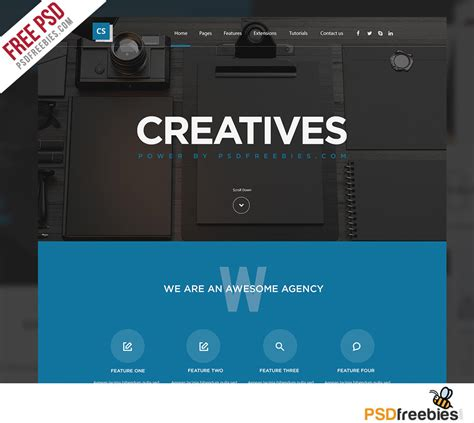 Creative Digital Agency Website Template Free Psd Psdfreebies Com Digital Agency Website Templates