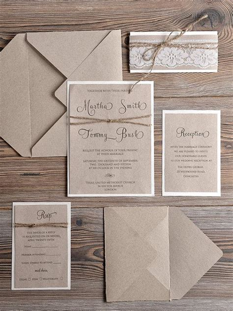 rustic wedding invitations 20 country style lace wedding invitations rustic wedding