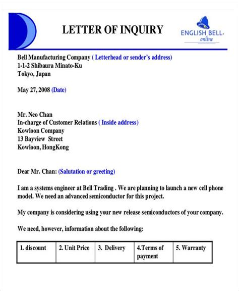 Quote Inquiry Letter 27 Sle Quotation Letters