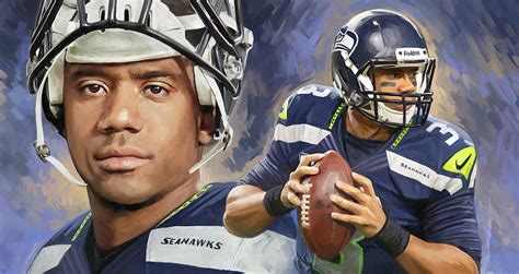 Duvet And Cover Russell Wilson Artwork Painting By Sheraz A