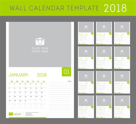 Green Calendar 2018 Templates Vector Free Download Free Photo Calendar Template 2018