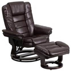 Leather Recliner With Ottoman Flash Furniture Leather Recliner Ottoman W Swiveling Mahogany Wdbasebt 7818 Ebay