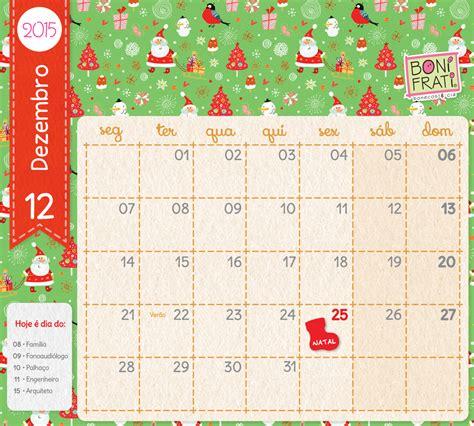Calendario Dezembro 2015 Calend 225 Sem Plaquinhas