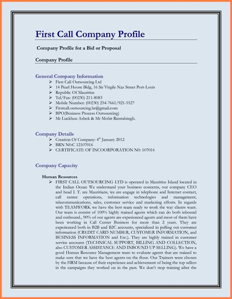 11 Best Company Profile Template Company Letterhead Business Overview Template