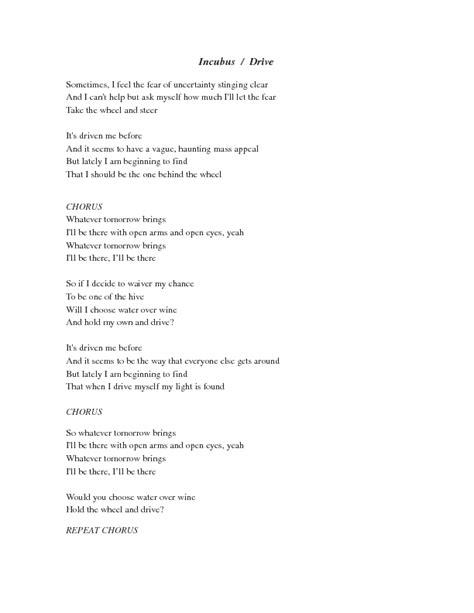 drive incubus lyrics song worksheet incubus
