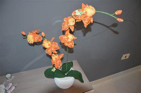 arancio in vaso orchidea arancio in vaso due rami fatta a mano per la