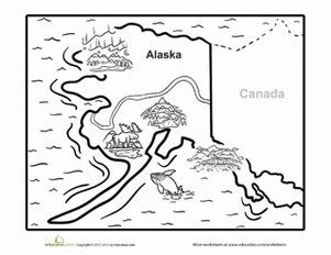 coloring page map of alaska map of alaska worksheet education com