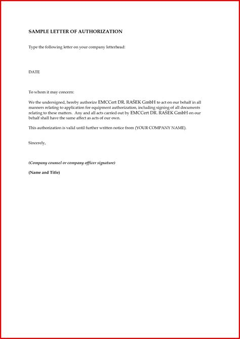 authorization letter format for dewa authorization letter for credit card collection