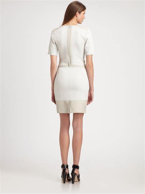 Dress Mocion lyst helmut lang motion leathertrimmed crepe dress in