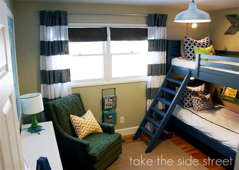 Boy Room Ideas With Bunk Beds Boys Rooms The Curtains Which Are Made From A Walmart Sheet And Like Them Layered With