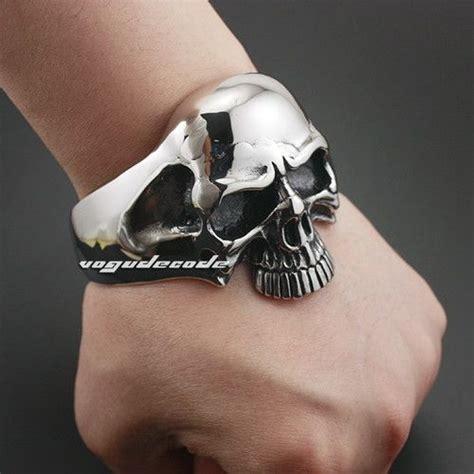 stainless steel huge heavy skull mens biker bracelet