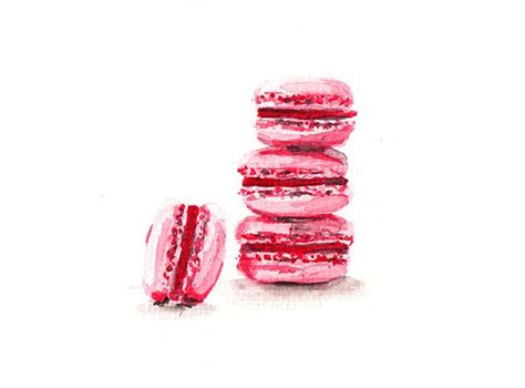 macaroons watercolor print postcard 5 00 via etsy macaron food