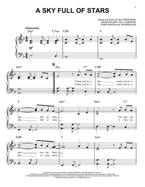 download mp3 coldplay sky full of stars free a sky full of stars sheet music by coldplay easy piano