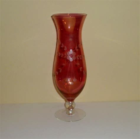 Chagne Hurricane Vase flash etched floral and leaf glass hurricane vase from