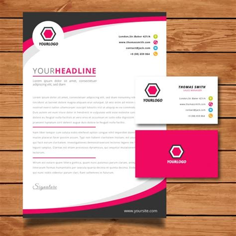 Pink letterhead and business card Vector   Free Download