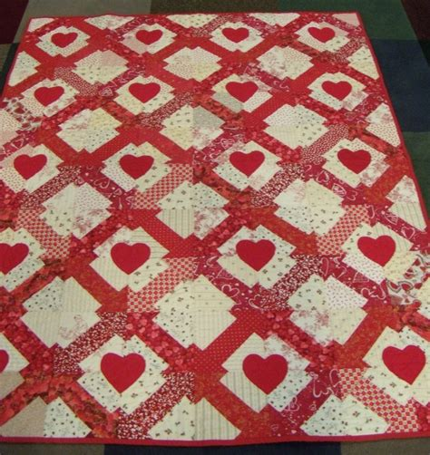 White Patchwork Quilt - and white applique and patchwork quilt hearts and