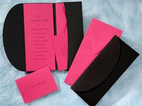 wedding invitations black and pink the purple mermaid pink and black pocket wedding invitations