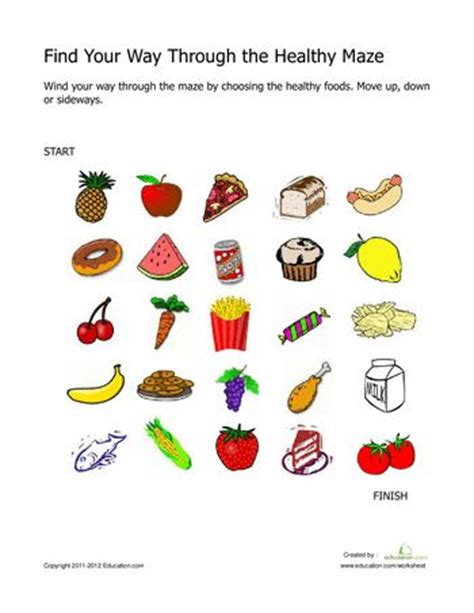 Healthy Snacks Worksheet by Find Your Way Through The Healthy Maze Maze The O Jays